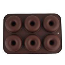 6 cavidad Molde de Silicona Donuts Chocolate Candy caramelo bandeja hacer Moldes Muffin BR