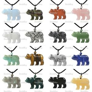 "47mm  Genstone carved flatback polar bear pendant necklace 22"""