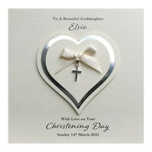 Handmade PERSONALISED Christening Card Silver - Cross Charm Heart