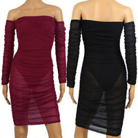 Damen Off Shoulder Kleid Rückenfrei Partykleid Bodycon Midikleid Transparente