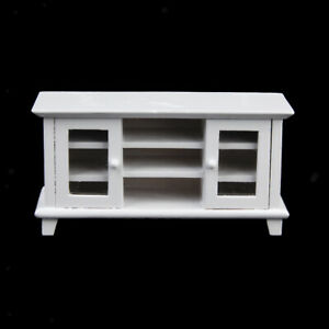 1:12 Dollhouse Wooden Furniture, Miniature White TV Cabinet for Doll House Life