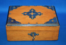A rare Victorian gothic medieval cross detail casket, oak, studwork, with key