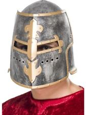 Smiffys Medieval Crusader Helmet, Silver, with Moveable Face Shield - Male