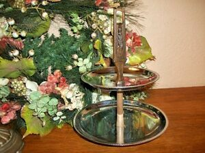 Tiered Serving Tray Vintage 1960's Kromex Chrome Tableware Dining Accessory