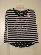 NWT Cute Justice Peace Black White stripes dots school top shirt Teen Girl 12 L