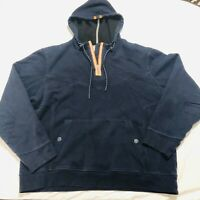 Robert Graham Hoodie Jacket Mens 2XL Navy Blue Hooded Pullover 1/4 Zip-RG POCKET