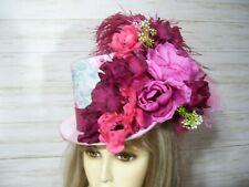 Pinks Floral Top Hat Halloween Top Hat Kentucky Derby Hat Victorian Top Hat