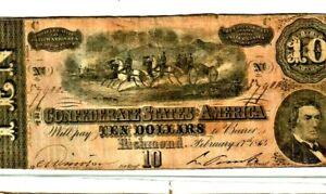 """$10 """"CONFEDERATE"""" 1800'S $10 (RARE) """"CONFEDERATE"""" 1800'S (RARE)  CRISPY NOTE!"""
