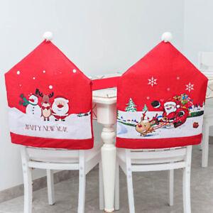 Creative Santa Claus Chair Black Cover Xmas Decor Printed Home Dec Ration YI