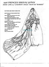 BARBIE and similar dolls  Princess GRACE KELLY 1956 BRIDAL WEDDING Gown PATTERN