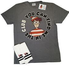 Wheres Wally Character Mens Large Tshirt /Top,Free pair Wheres Wally Socks 6-8.5