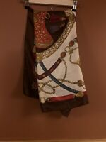 """RED/CREAM/BROWN  SCARF 100% SILK SADDLE PRINT 32""""/32"""" EXCELLENT CONDITION"""