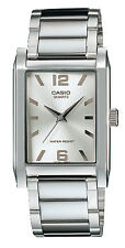 Casio MTP1235D-7A Men's Enticer Stainless Steel Rectangular Silver Dial Watch