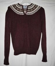 VINTAGE Susan Bristol 100% Wool Shetland Sweater Maroon European Nordic Style