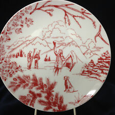"EDDIE BAUER SPAL TOILE COLLECTION WINTER SCENE SKIERS DOG SKI LODGE PLATE 8"" RED"