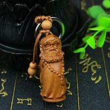 Dharma Patriarch Bodhidharma Statue Chinese Wood 3D Carving Sculpture Key Chain
