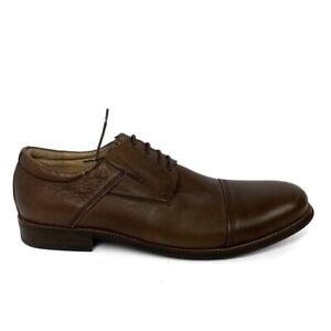 NEW Zanzara Lace Up Brown Leather Oxford Dress Shoes Cap Toe Men Size 9 Low Heel