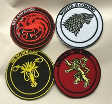 new lot 4pcs House Symbol Game of Thrones Embroidered Iron on Sew on Patch