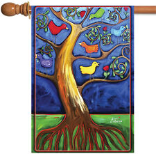 New Toland - Birdie Branches - Cute Colorful Tree Branch Bird House Flag