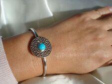 Stunning Designer Sleeping Beauty Turquoise Sterling Silver Bangle