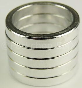 """Bicycle BMX or MTB headset spacers for 1 1/8"""" threadless (SET of 5) 5mm - SILVER"""