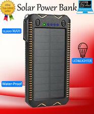 Solar Power BANK ~WATERPROOF~12000mAh*FAST*POWER Bank DUAL LED+built in Lighter