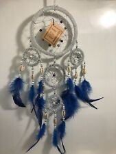 Dream Catcher Bead Feathers Shells Silver Blue Native American