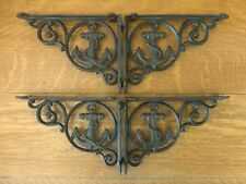 """4 BROWN ANCHOR THEMED SHELF BRACKETS 9"""" ANTIQUE STYLE CAST IRON nautical boat"""