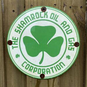 VINTAGE SHAMROCK OIL PORCELAIN METAL SIGN GAS STATION SERVICE LUCKY IRISH CLOVER