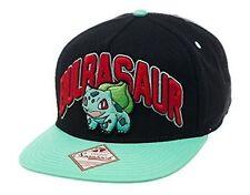 b3305a7e551 Pokemon Unisex Bulbasaur Snapback Baseball Cap One Size Black turquoise Sb1