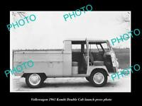 OLD LARGE HISTORIC PHOTO OF 1961 VOLKSWAGEN KOMBI DOUBLE CAB LAUNCH PRESS PHOTO