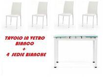 TAVOLO CRISTALLO ALLUNGABILE + 4 SEDIE TUTTO BIANCO DESIGN MODERNO SOTTOCOSTO