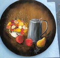 Vintage Folk Art Painting Mums & Pewter Teapot Tole Signed On Wood Plaque Apples