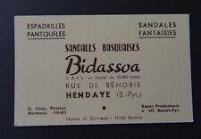 Carte de visite BIDASSOA sandale basquaise espadrille HENDAYE old visit card