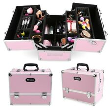 Large Pro Aluminum Makeup Train Case Jewelry Box Cosmetic Organizer PINK New