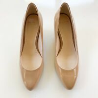 Cole Haan Grand OS Patent Leather Nude Almond Toe Wedge, Size 6.5
