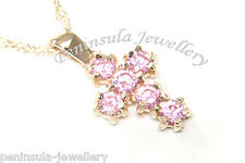 "9ct Gold Pink CZ Cross Pendant necklace and 18"" Chain Made in UK Gift Boxed"