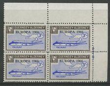 Guernsey ALDERNEY 1966/67 3/- PERF PROOF block 4