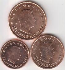 lot 1,2,5 cts cent euro Luxembourg 2002 qualité UNC !!! voir scan