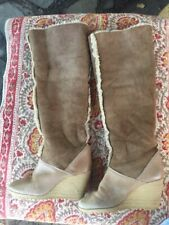 1970s Brown Suede Sheepskin Tall Boot Heels Size 6
