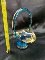 """Bohemian Italian Glass Basket Baby Blue Vintage Gold w Enamel flowers 7"""" x 5"""""""