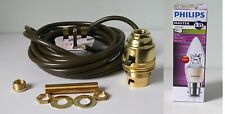 Brass switched lamp holder Kit BC fitting c/w 10mm thread 3m wire & Philips LED