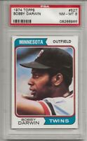 SET BREAK - 1974 TOPPS # 527 BOBBY DARWIN, PSA 8 NM-MT, TWINS,  CENTERED, L@@K !