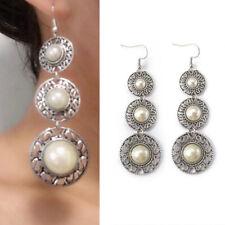 Women Antique Three-Layer Pearl Ring Hat Earrings Tassel Earrings Jewelry Gift