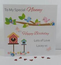 Personalised Handmade Nan Nanny Grandma 50th 60th 70th Birthday Card Birds