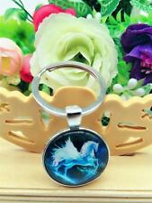 New 1pcs Vintage Silver Horse Pendant Keychain fashion jewelry Glass Keychain