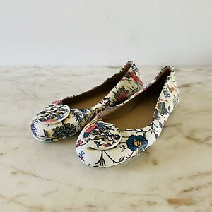 TORY BURCH Ivory Floral Print Leather Ballerina Flats Large Logo - US 7