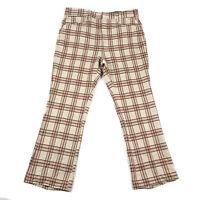 Vintage 70s Plaid Bell Bottoms Slacks Size 34 x 28 Double Knit Haggar Golf Pants