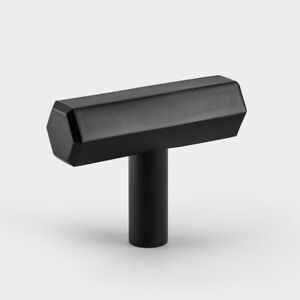 Modern Brushed Brass Black Hexagonal T Bar Cupboard Door Pull Handle Knob