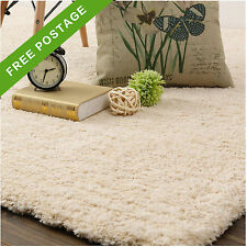 Light Beige Cream Shag Shaggy Floor Rug Thick Super Soft Plush Carpet 120x170cm